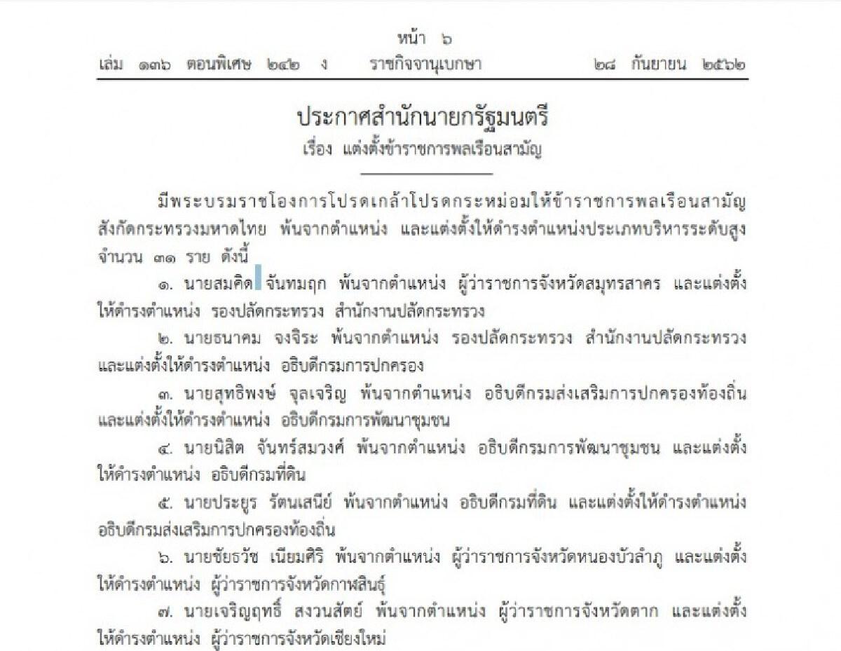 โปรดเกล้าฯแต่งตั้งขรก.มหาดไทยและผู้ว่าฯ 31 ราย