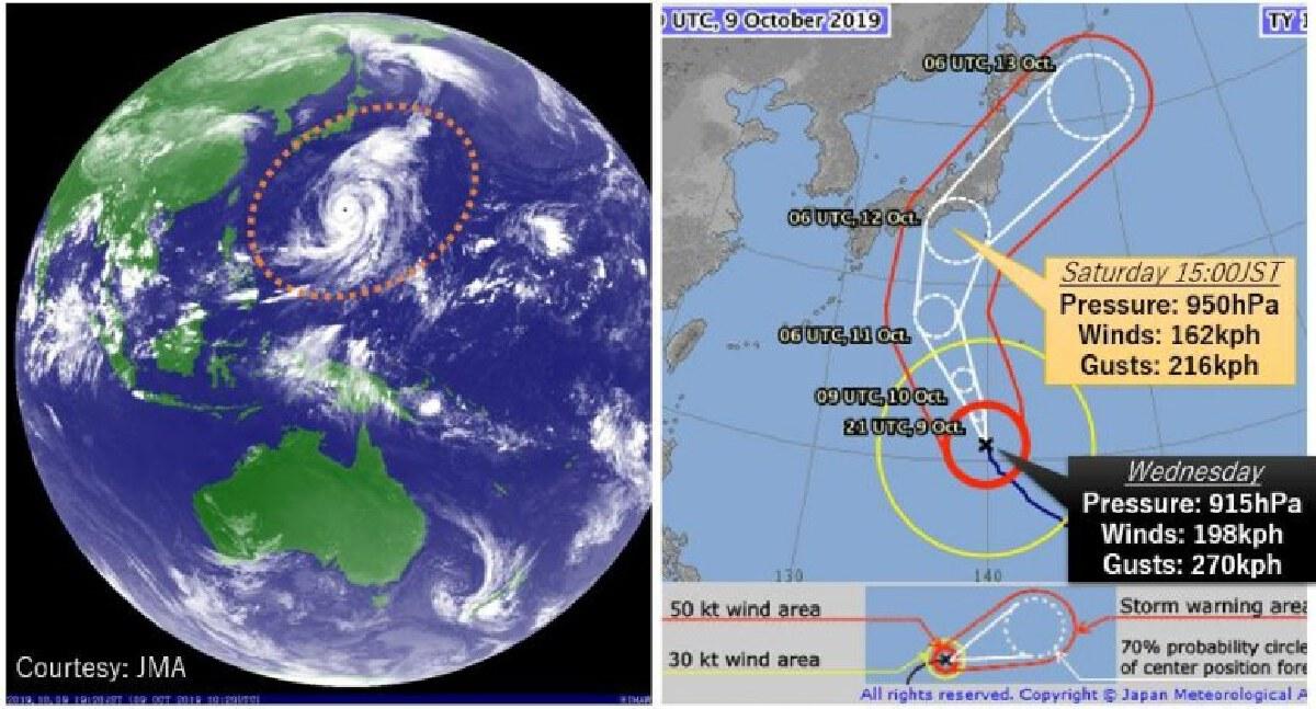 """""""ไต้ฝุ่นฮากิบิส"""" ที่อาจจะกลายเป็นพายุที่ใหญ่ที่สุดในโลก"""