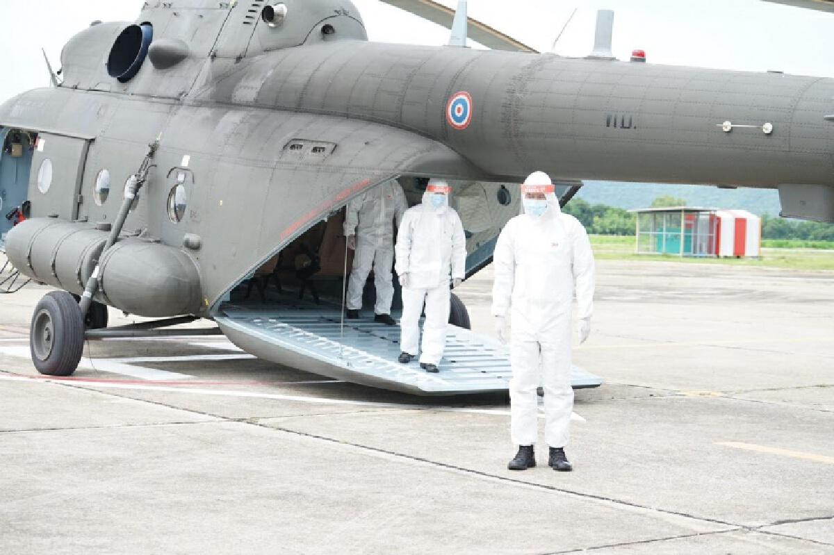 """ส่อง """"เครื่องบินลำเลียง 295"""" และ """"Mi-17"""" ของ ทบ.ส่งผู้ป่วย """"โควิด"""" รักษาตัวที่บ้านเกิด"""