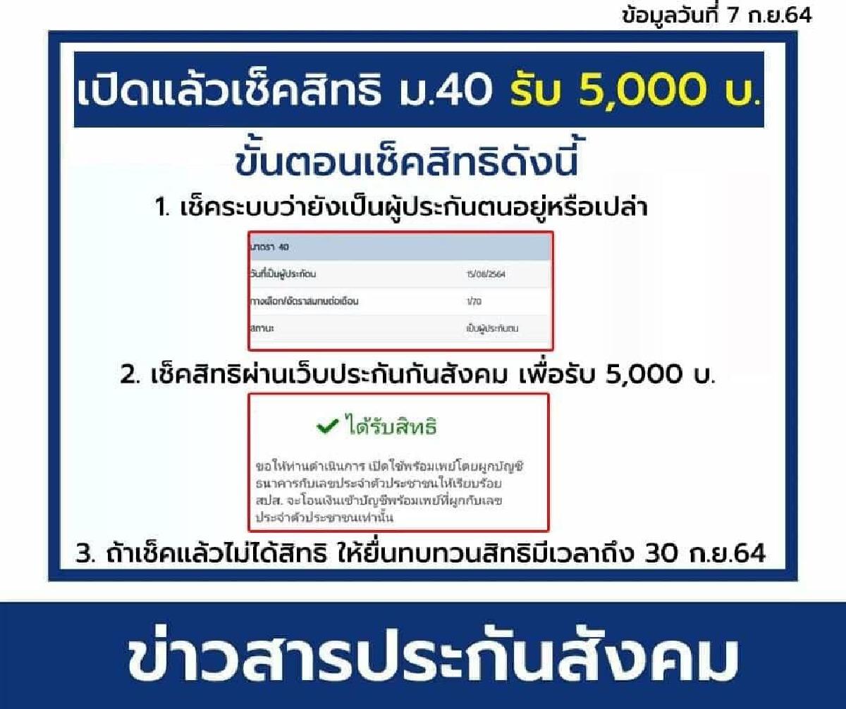 www.sso.go.th ด่วน! เช็กสิทธิ ม.40 เงินเยียวยา 5000 บาท ก่อนพลาดสิทธิ