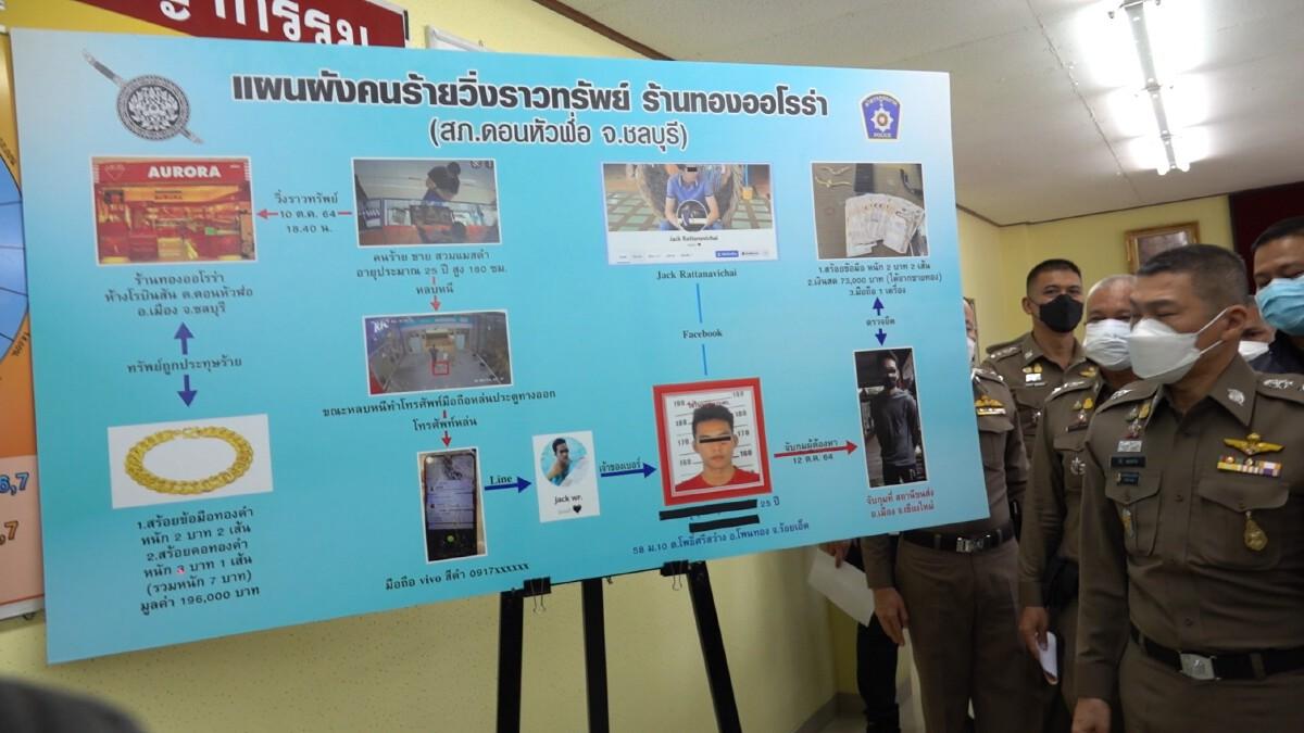 """ตำรวจชลบุรี คุมตัว """"อดีตนักฟุตบอล"""" ทำแผนชิงทอง พบติดหนี้พนันบอลกว่า5แสน"""