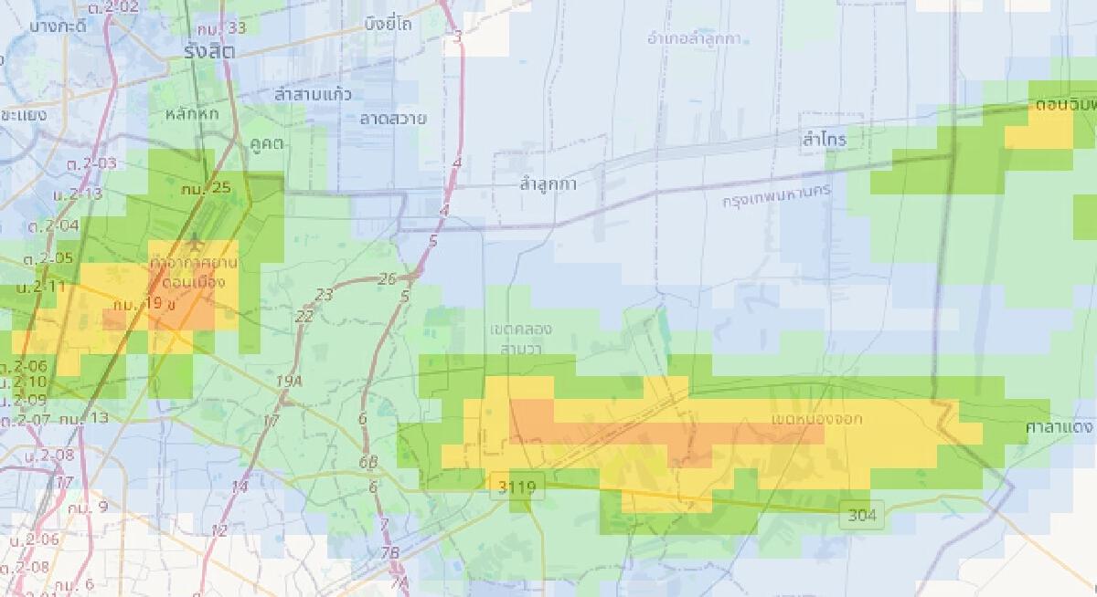 """กรุงเทพฯ """"ฝนตกหนัก"""" เช็คพื้นที่น้ำฝน สูงสุดจตุจักรตกเฉลี่ย 94 มม.ต่อชั่วโมง"""